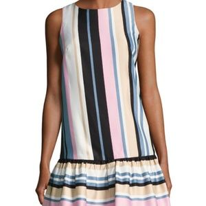 Nicole Miller Dress Ruffle Hem Stripe Pink Multi 8